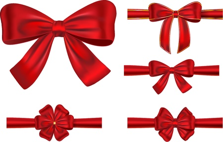 set of different types red satin ribbons with bows Vectores