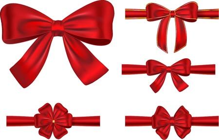 feliz: insieme di tipi diversi nastri di raso rosso con fiocchi Vettoriali