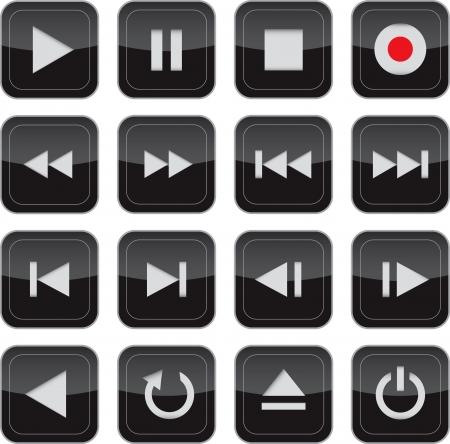 웹, 애플리케이션, 전자 및 보도 미디어 광택 아이콘  버튼 설정을 제어하는 멀티미디어