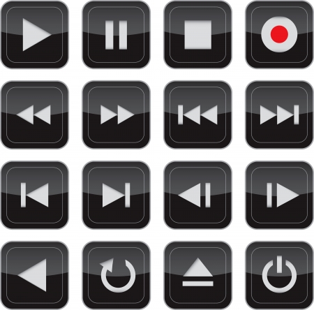 Multimedia control glossy icon/button set for web, applications, electronic and press media Vectores