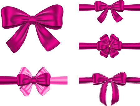 set of violet gift ribbons with bows for card and decorations