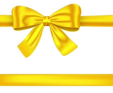 장식 고급스러운 활과 황금 새틴 선물 리본. 삽화 일러스트