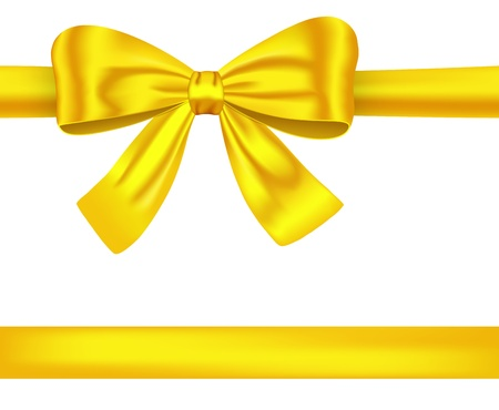 Golden satin gift ribbons with luxurious bow for decorations. illustration