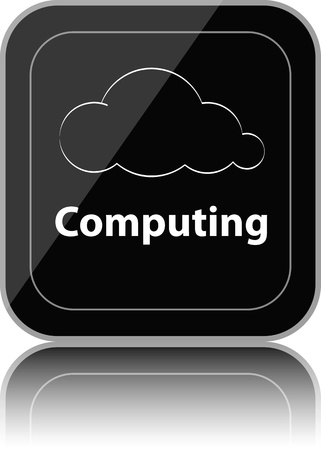 Black cloud computing button with reflection Vector