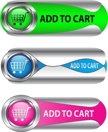 add to cart: Metallic Add To Cart buttonicon set for web applications.