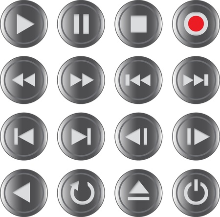 backward: Multimedia control grey iconbutton set for web, applications, electronic and press media. illustration