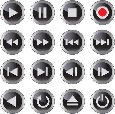 dvd player: Multimedia control glossy iconbutton set for web, applications, electronic and press media. illustration Illustration
