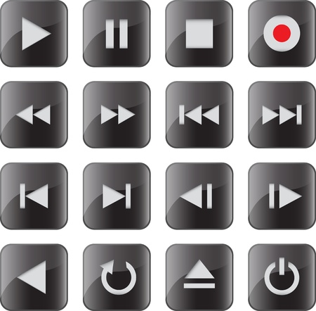 Black glossy multimedia control icon/button set for web applications. illustration Vectores