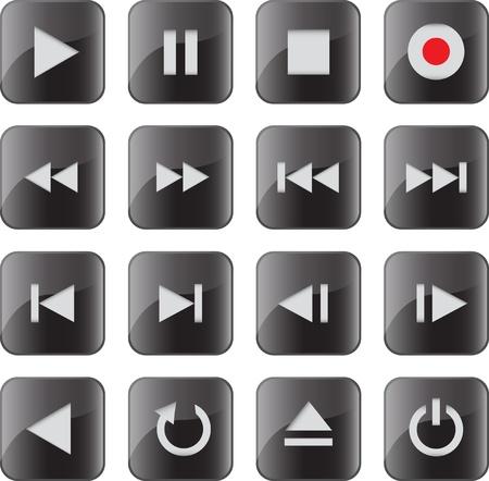 Zwarte glanzende multimedia-pictogram / knop set voor web applicaties. illustratie Vector Illustratie