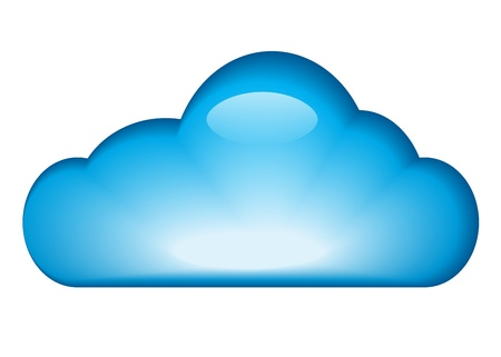 Blue glossy cloud isolated on white background. illustration Vector