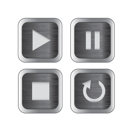 pause button: Multimedia control brushed metal iconbutton set for web, applications, electronic and press media