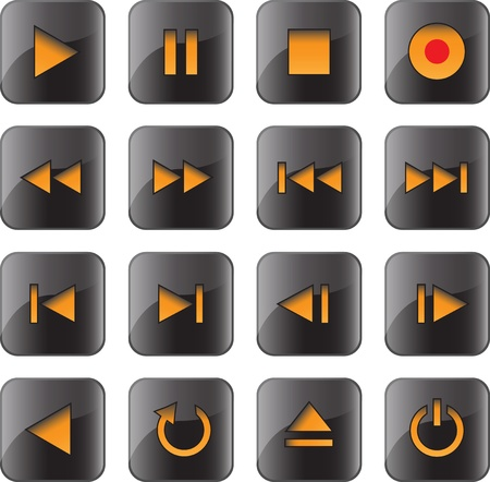 rounded squares: Multimedia control glossy iconbutton set for web, applications, electronic and press media. illustration Illustration