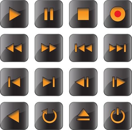 Multimedia-controle glanzend icoon / button set voor het web, applicaties, elektronische en druk op media. illustratie Vector Illustratie