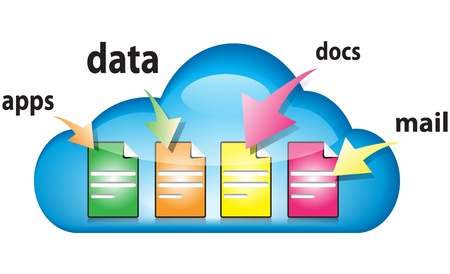 docs: Cloud computing concept with docs, data, apps, mail in the cloud illustration Illustration