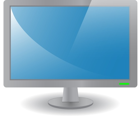 Front view of a computer monitor with blue screen illustration Vector