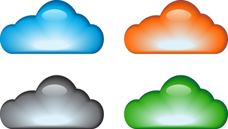 Blue, gray, orange, green glossy cloud icon set illustration Stock Vector - 12494191