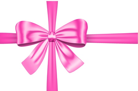 Nice pink ribbon with bow for gift, cards and decorations. Imagens - 12788563