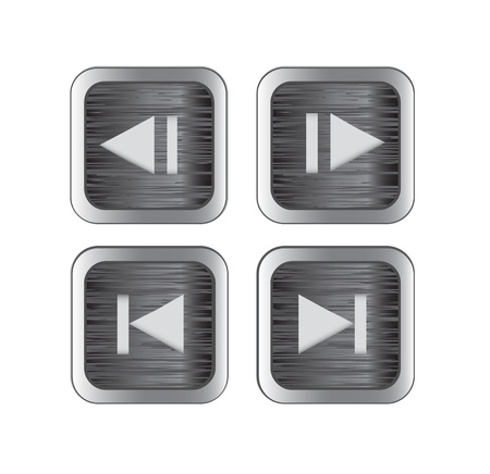 backward: Brushed metal multimedia control buttonsicons. Vector illustration