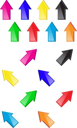 Colorful glossy arrows. Web elements.