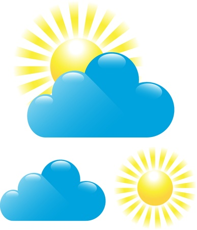 partly: Set of cloud and sun isolated on white background. Illustration