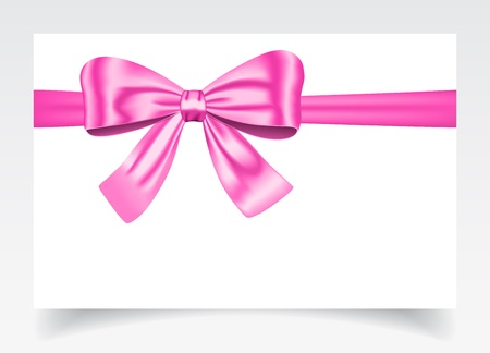 Nice gift card with pink ribbon and bow. Imagens - 14126720