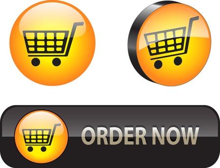 orden de compra: Elegante comercio electr�nico bot�n de iconos para aplicaciones web Vectores