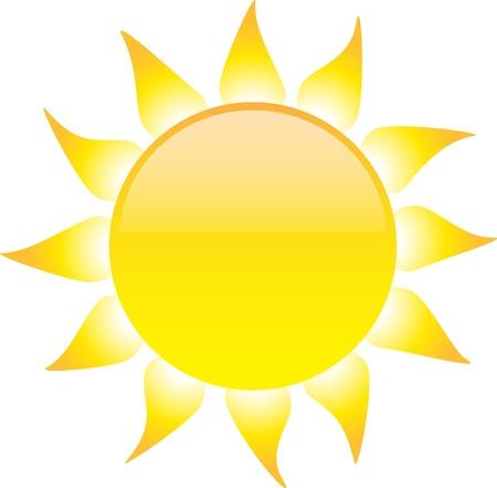 Glossy Sonne auf weißem Hintergrund. Illustration