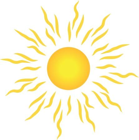 słońce: Stylowe słońce z promieniami na białym tle. Ilustracja