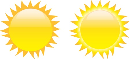 Set of glossy sun images isolated on white background