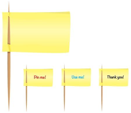 Yellow post-it notes on toothpicks like flags Ilustração