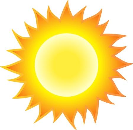 rayos de sol: El sol quema como una llama. Aislado sobre fondo blanco. Vectores