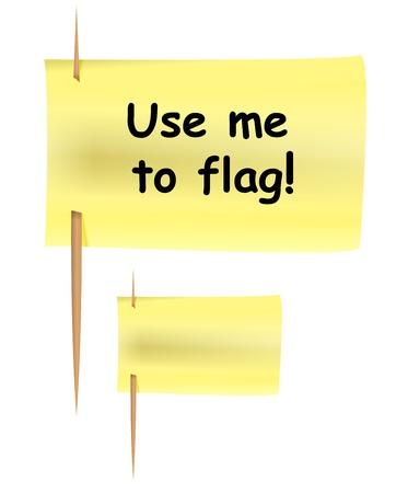 Set of yellow post-it notes on toothpicks like flag.  Vector