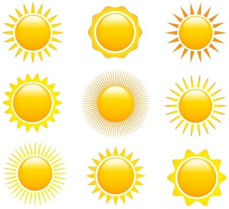 sol: Conjunto de imágenes del sol brillante. Vectores