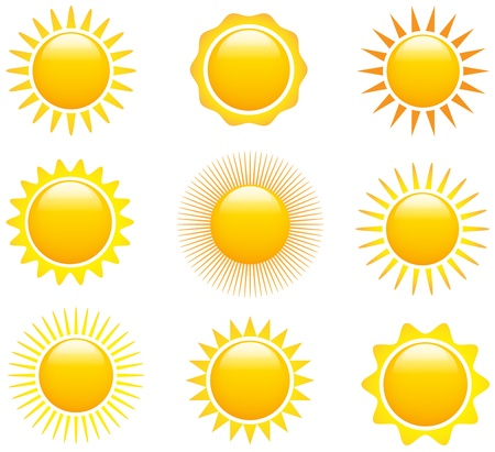 Set of glossy sun images.  Vector