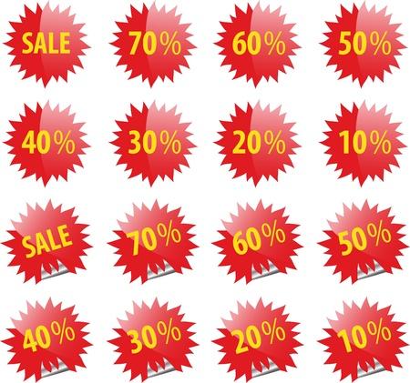 Set of red sale web and print glossy elements.  Ilustração