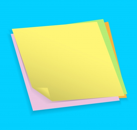 Blank colorful note papers on blue background. illustration Illustration