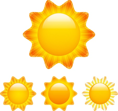 Set of glossy shining sun images with rays. illustration Vector