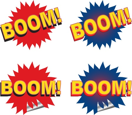 Set of web and print elements with the word boom illustration. Vector