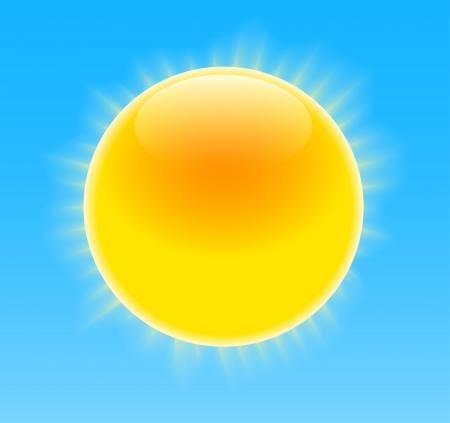 Glossy sun with nice rays on blue sky illustration