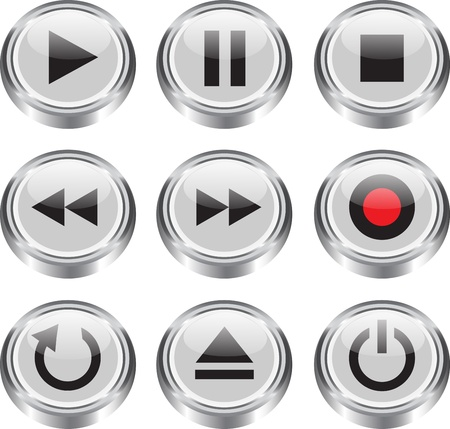 mp3 player: Multimedia control glossy icon button set for web, applications, electronic and press media illustration