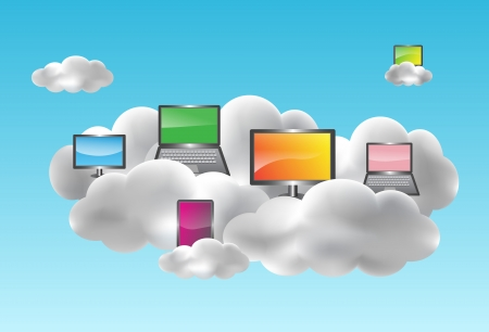 Cloud computing with desktops, notebooks, smartphones and netbooks on the clouds Vector