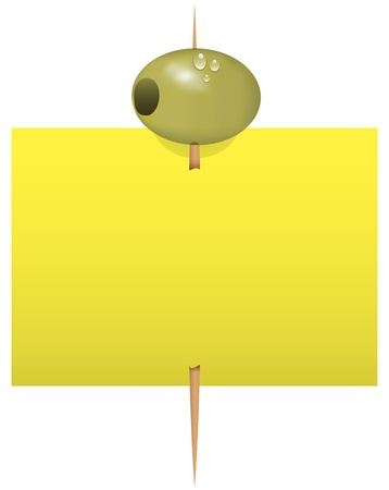 Blank note paper with a green olive on a toothpick. Stock Vector - 14390159