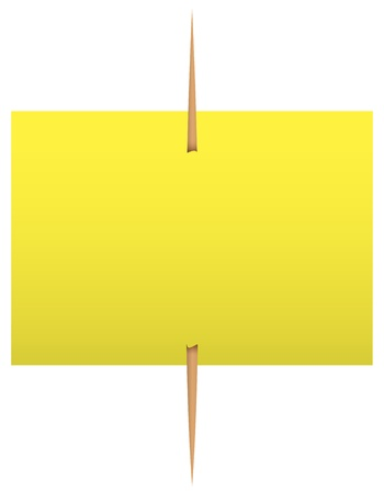 Blank yellow sticky note on a toothpick. Stock Vector - 14437669