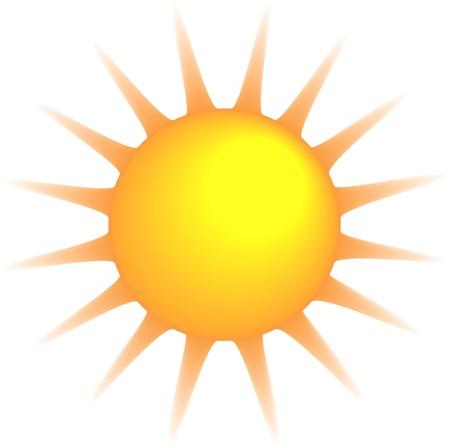 照らす: 燃える太陽が白い背景で隔離されました。