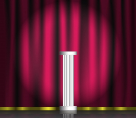 Pink curtain and pedestal on stage with spotlight.  Vector