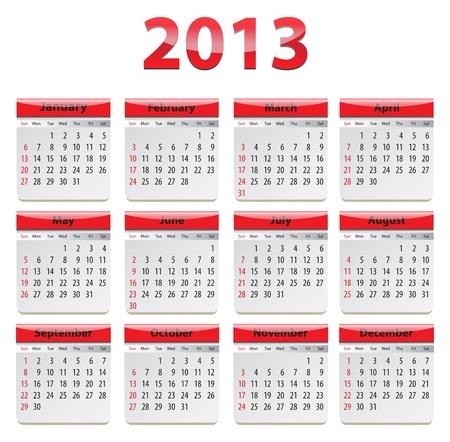 Red glossy calendar for 2013.