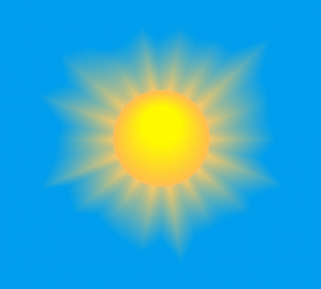 Sun shining with realistic rays on blue sky. Vector illustration