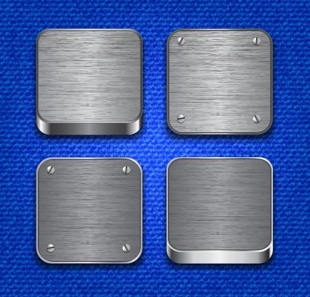 brushed metal: Brushed metallic apps icon templates on denim texture.