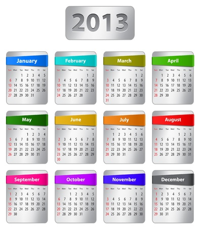 Calendar for 2013 year with colorful stickers. Vector illustration Stock Vector - 14892529
