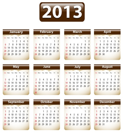 Brown calendar for 2013 year with torn papers. Vector illustration Stock Vector - 14892537